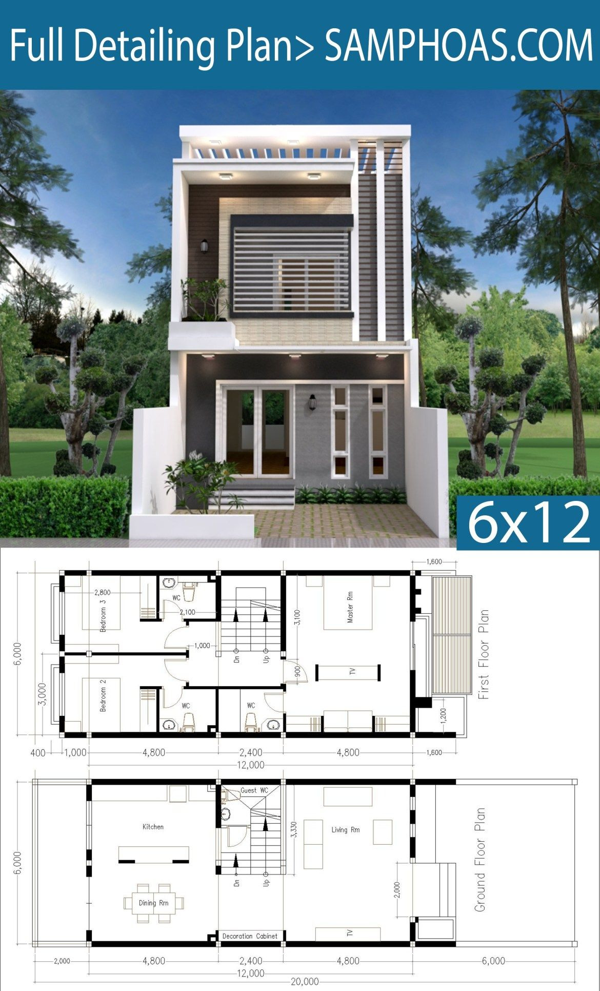 House Plans for Duplexes Three Bedroom New Modern Home Plan 6x12m with 3 Bedroom