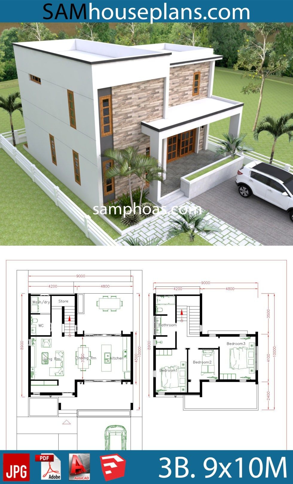 House Plans for Duplexes Three Bedroom Unique House Plans 9x10m with 5beds In 2020