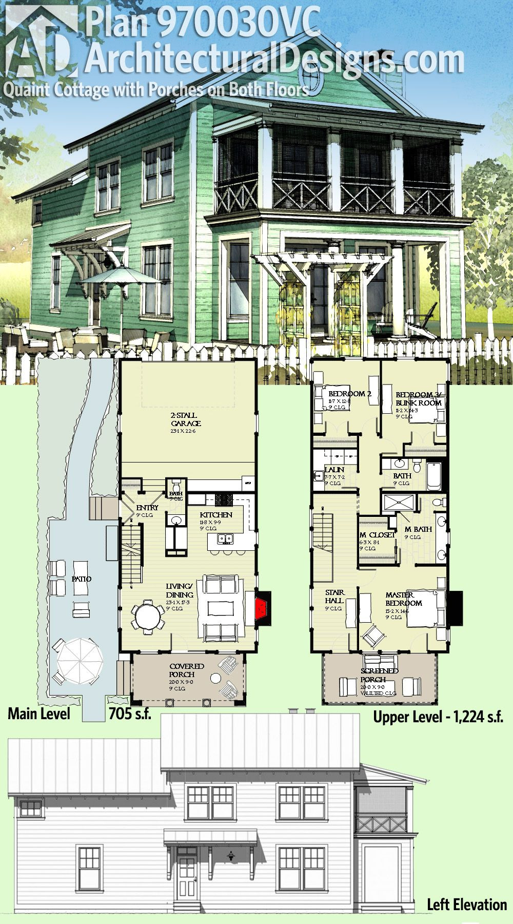 Houses Plans with Porches Best Of Plan Vc Quaint Cottage with Porches On Both Floors In