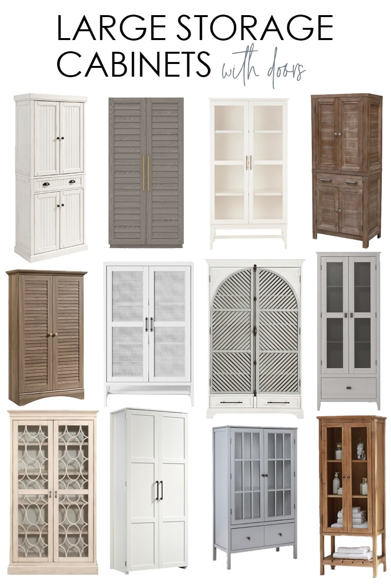 large storage cabinets with doors