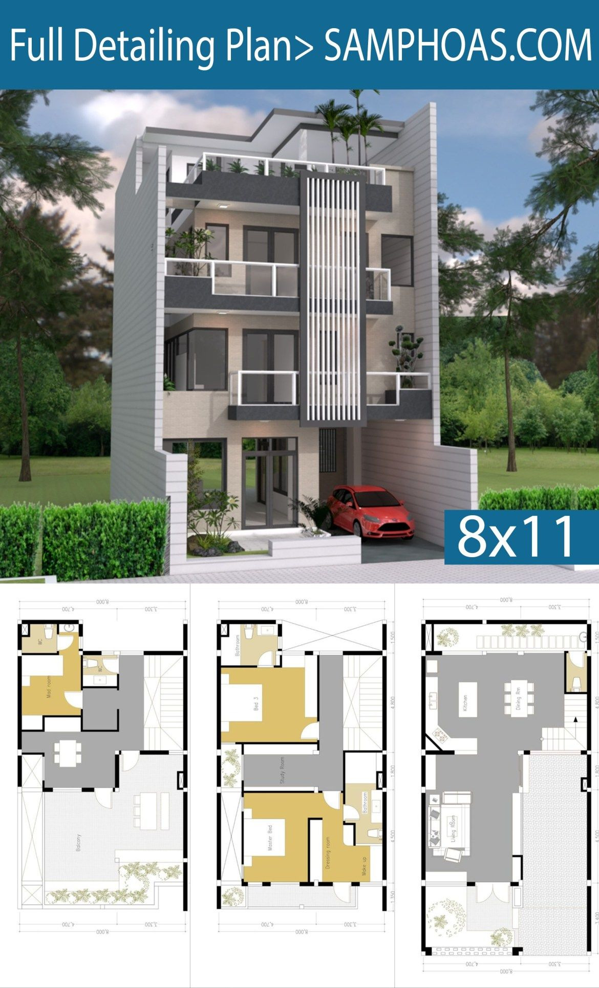 Model House Design Pictures Awesome Sketchup House Plan 8x11m 4 Story Plan with 5 Bedroom