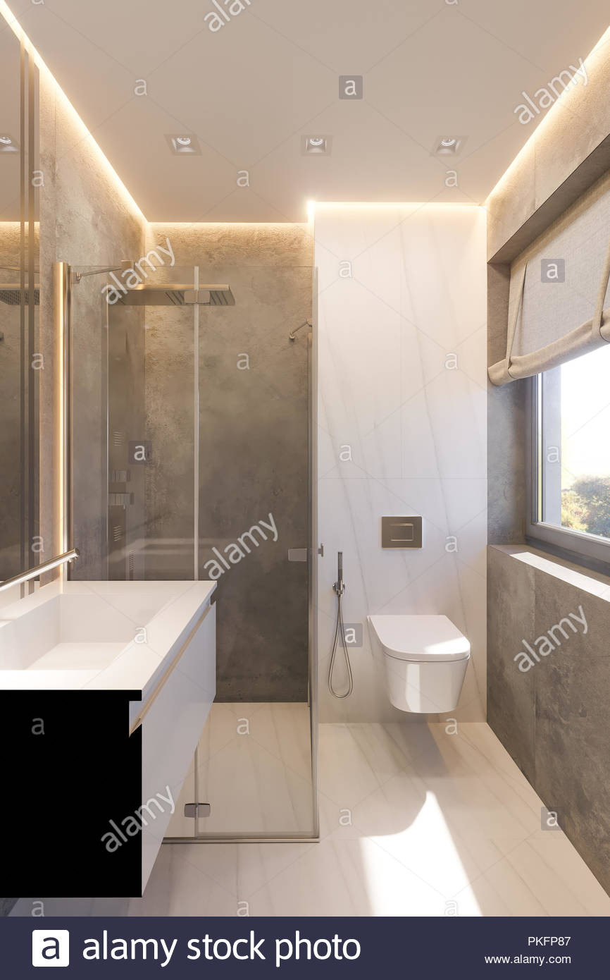 3d render interior design of the bathroom with glass walk in shower illustration of the interior in a modern style in gray tones natural stone marb PKFP87