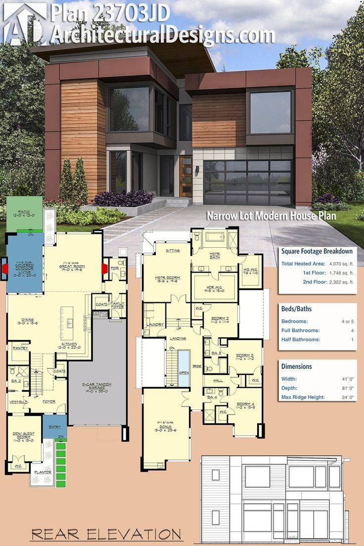 plan narrow lot modern house plans farmhouse contemporary modular homes infill story design floor designs bungalow mid century