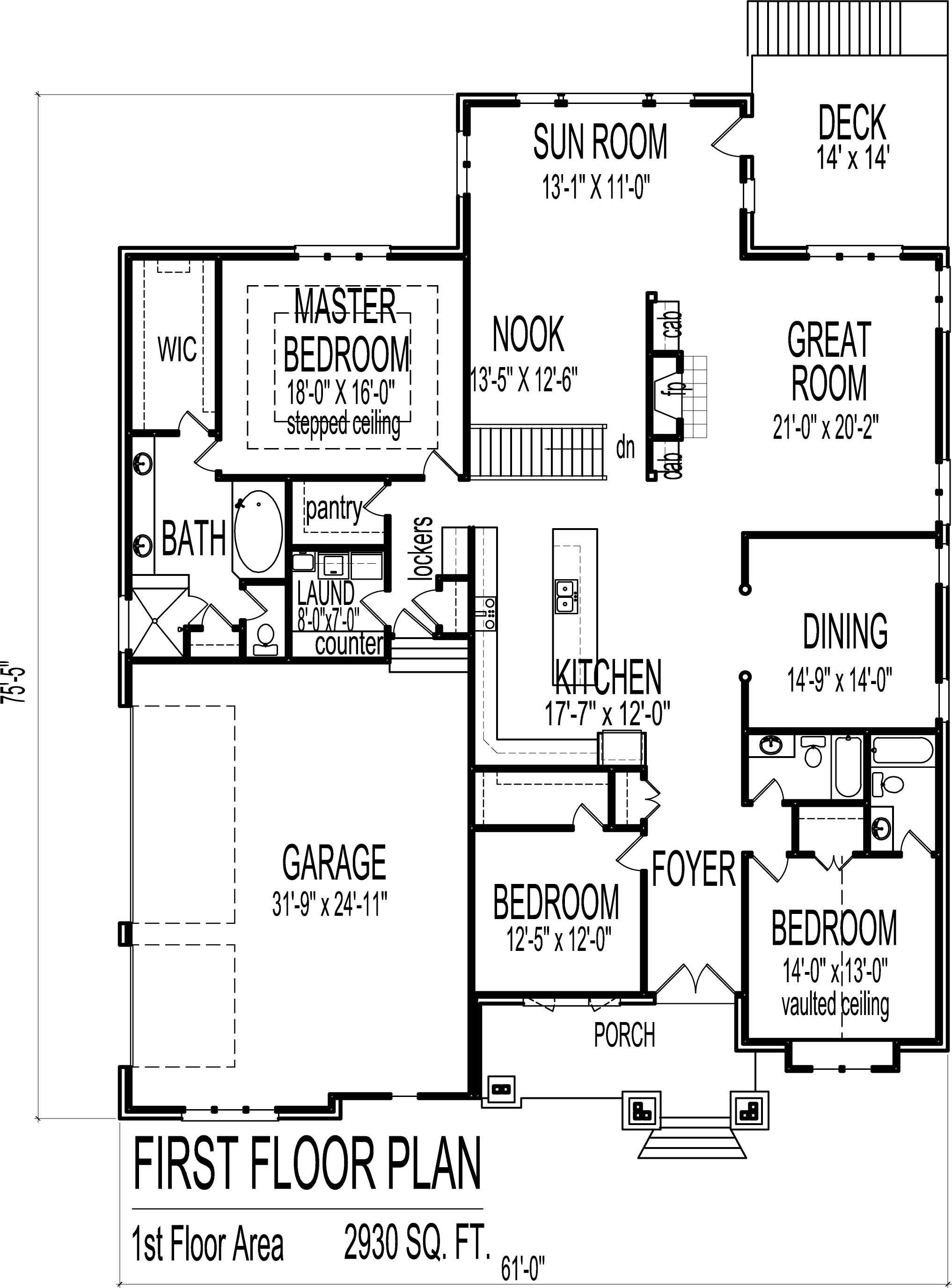 house plans luxury bungalow 3 bedroom 1 story 2500 sf