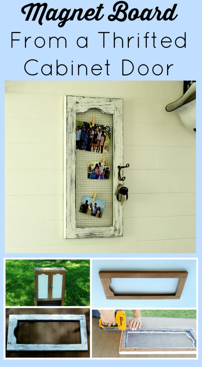 How to repurpose a Craigslist cabinet into farmhouse style magnet board Knick of Time Vintage Farmhouse Living blog