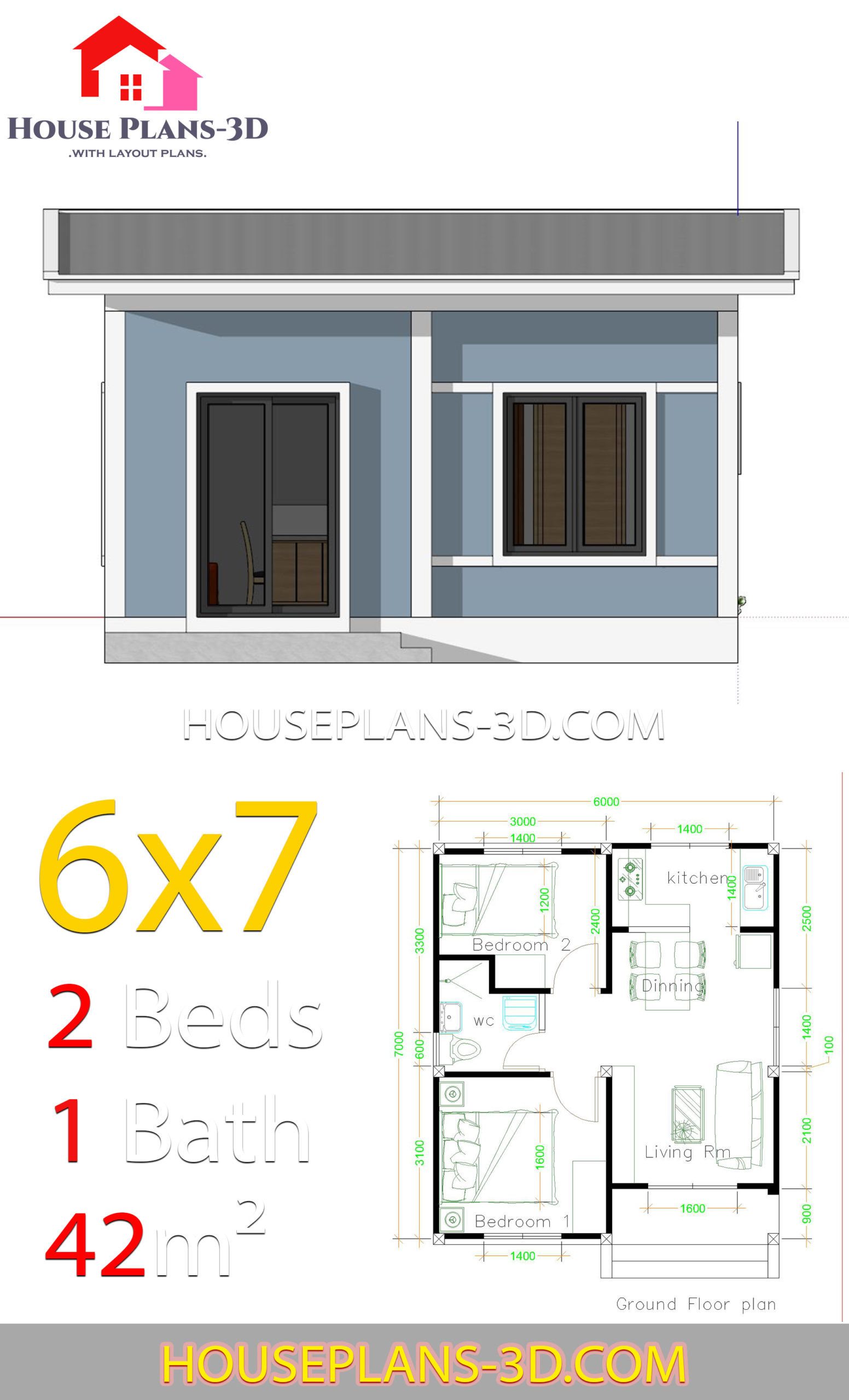 simple house plans 6x7 with 2 bedrooms shed roof