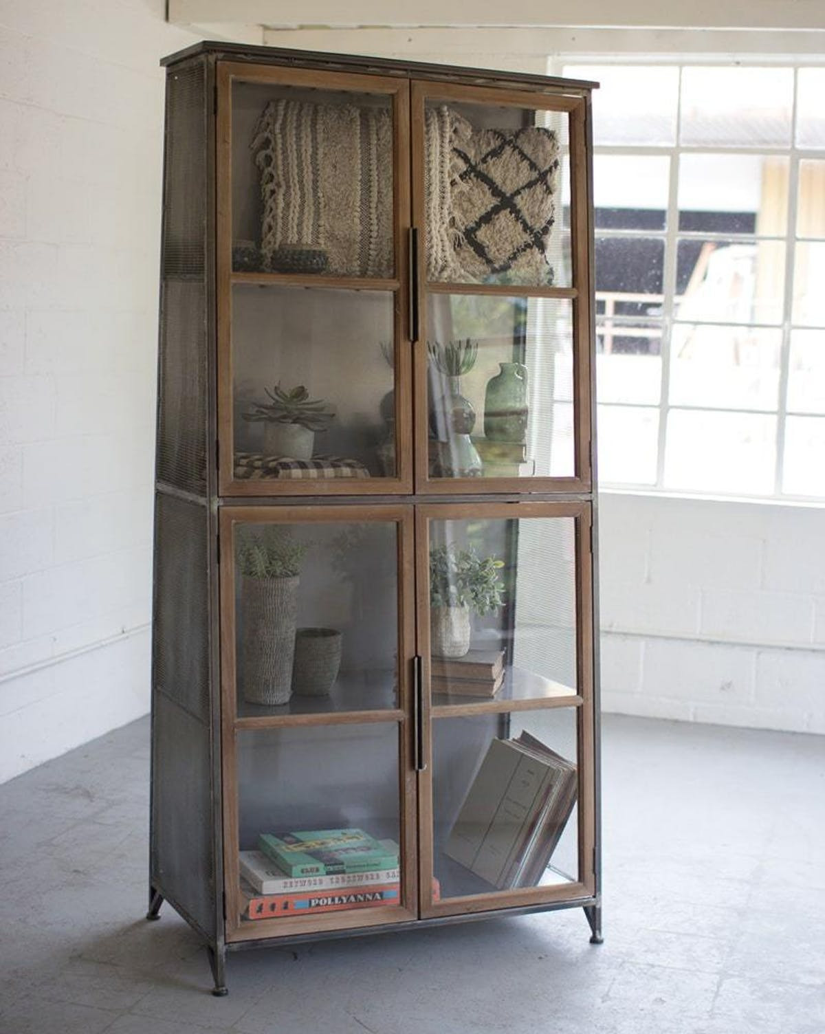 CLL2219 Kalalou Metal Wood Slanted Display Cabinet With Glass Doors