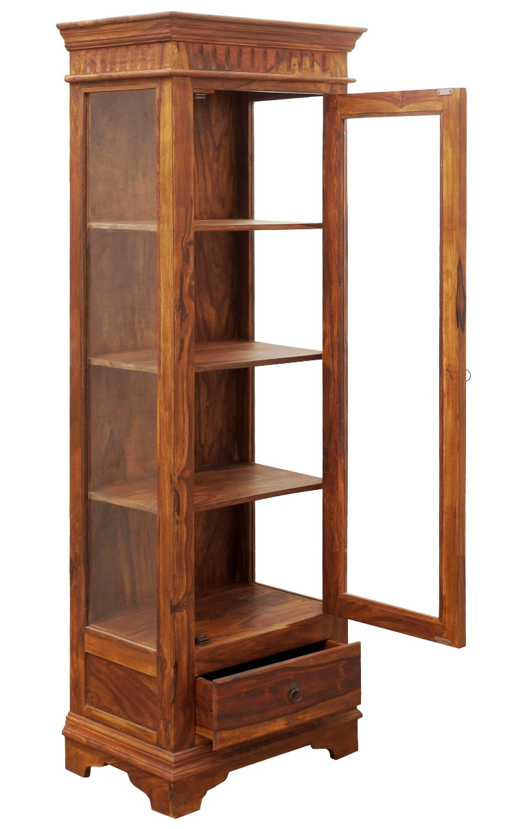US010 Single Glass Cabinet With 1 Dr 1 Dw 3 Shelves 65x45x190 Cms 03 2