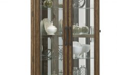 Small Curio Cabinet With Glass Doors Lovely Caudill 5 Shelf Double Door Lighted Corner Curio Cabinet