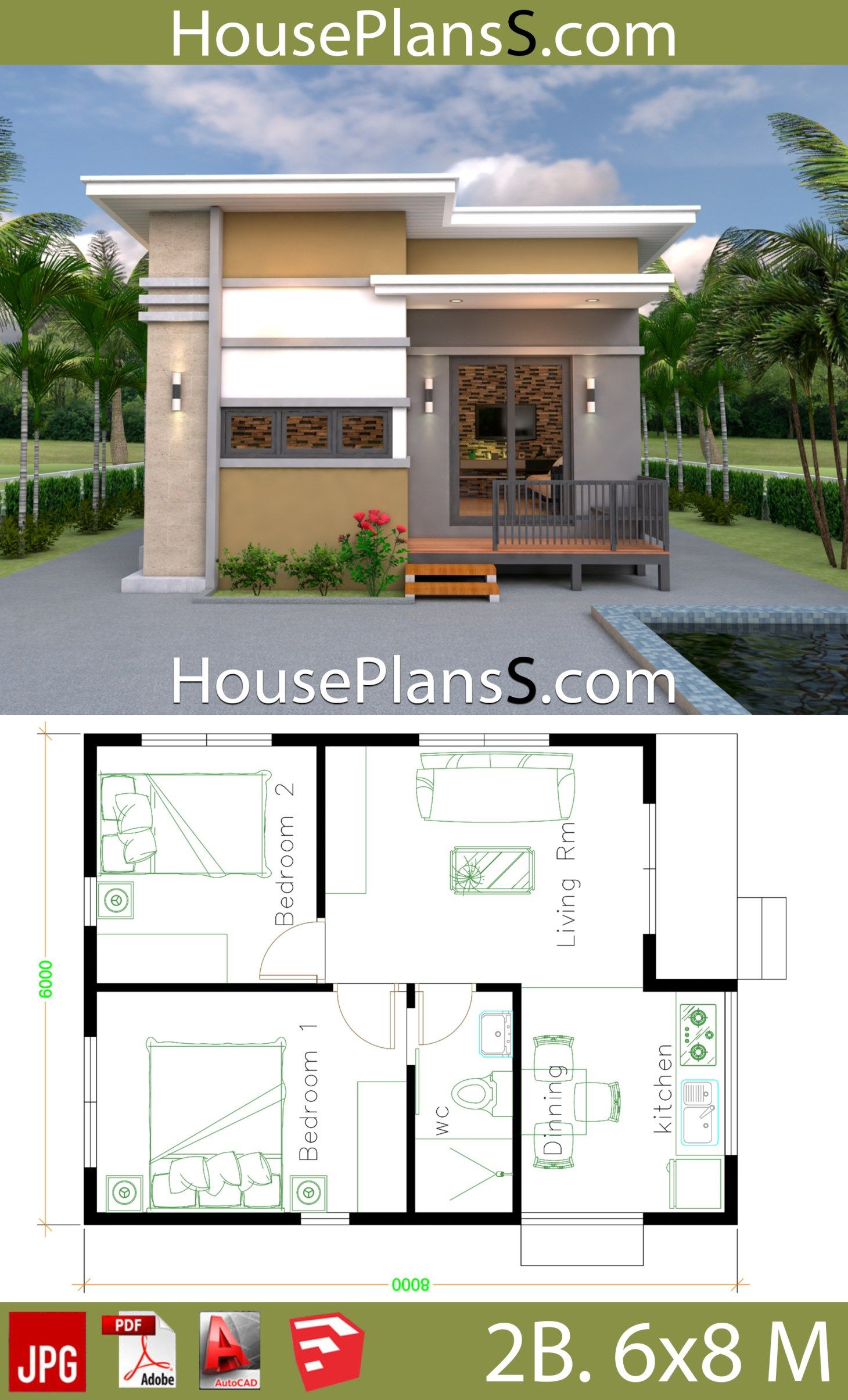 Small House Design Photos Fresh Small House Design Plans 6x8 with 2 Bedrooms