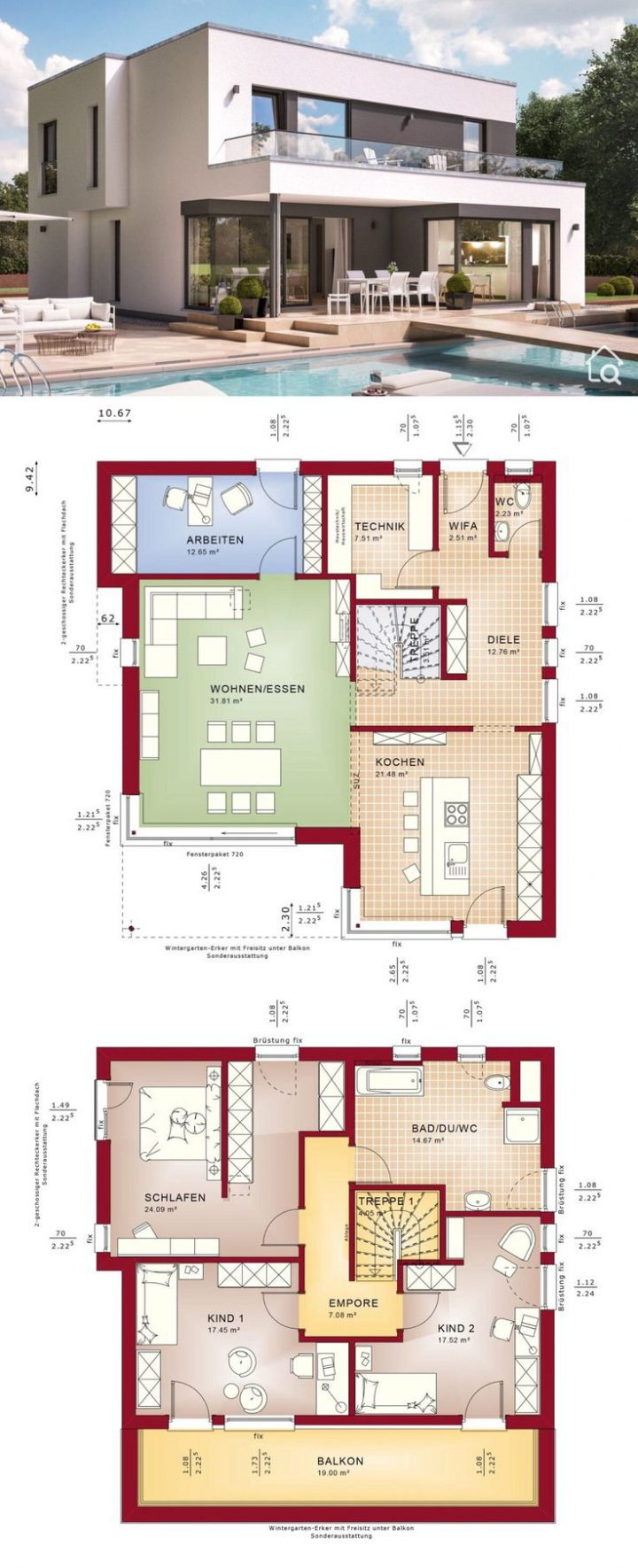 house floor plans small villa with 2 story 4 bedroom open concept modern cont