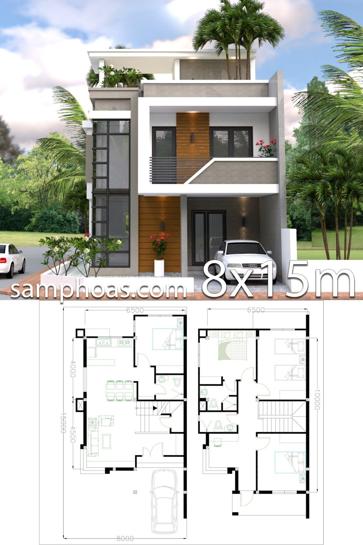 Small Minimalist House Plans Inspirational Home Design Plan 8x15m with 4 Bedrooms