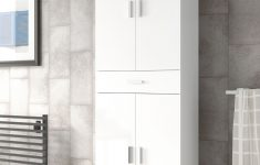 Tall White Cabinet With Doors Inspirational Rimini Tall Bathroom Cupboard White Gloss