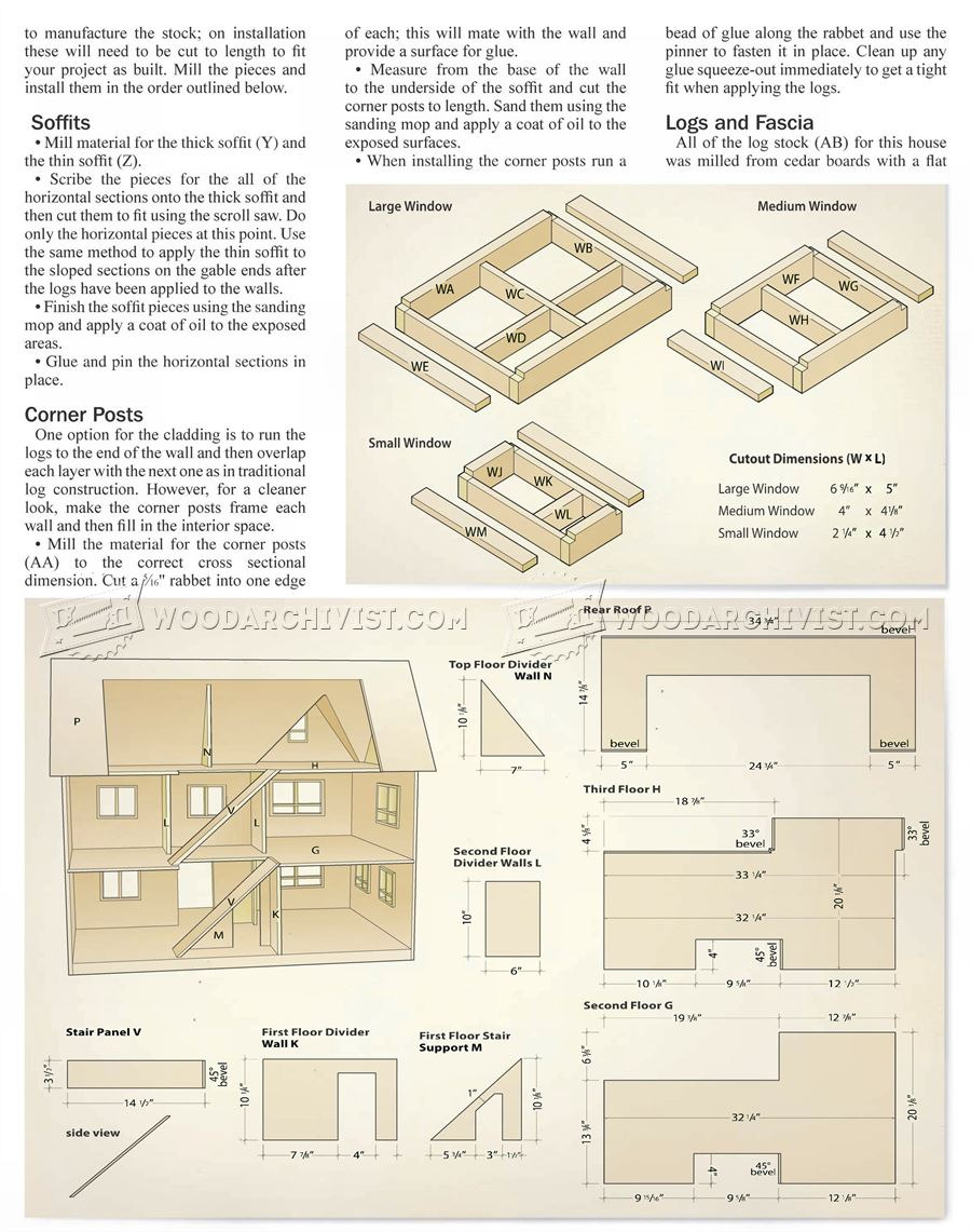 833 Doll House Plans 6 p4574rft