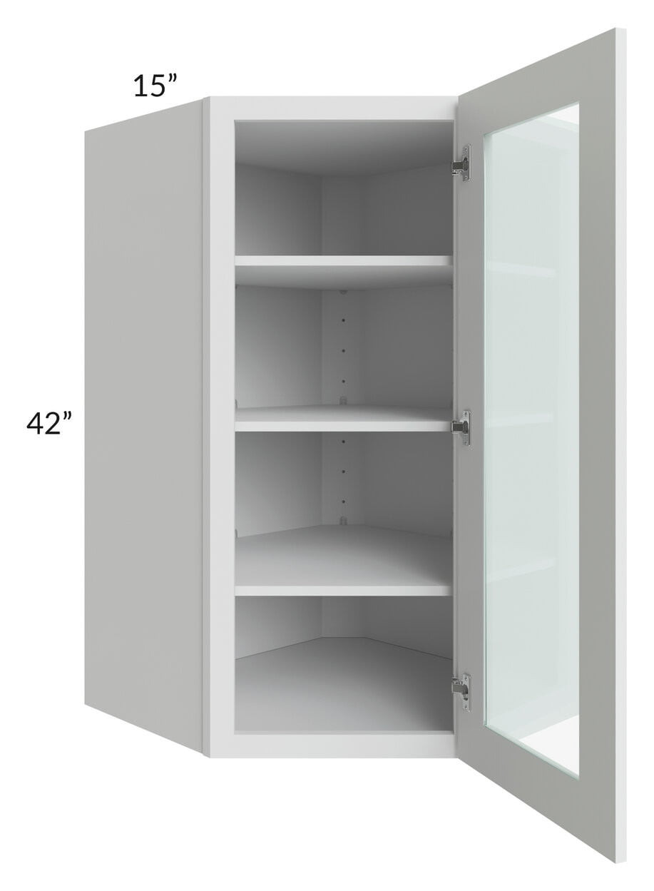 lakewood white 27x42 wall diagonal corner cabinet prepped for glass doors