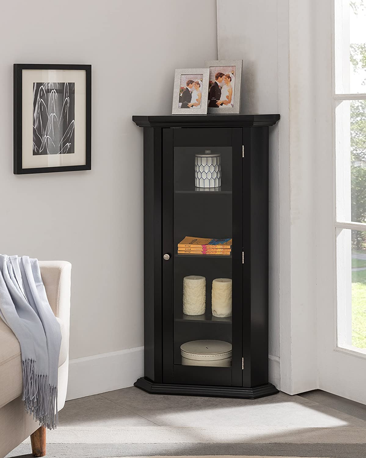 Wall Cabinets with Glass Doors Inspirational Kings Brand Furniture Corner Curio Storage Cabinet with Glass Door Black Finish