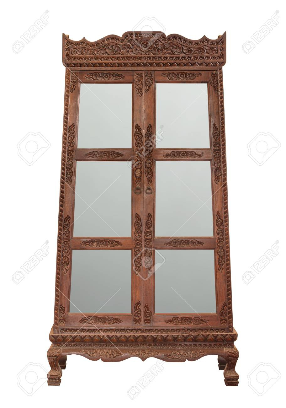 photo antique wooden cabinet with glass doors isolated on white with clipping path