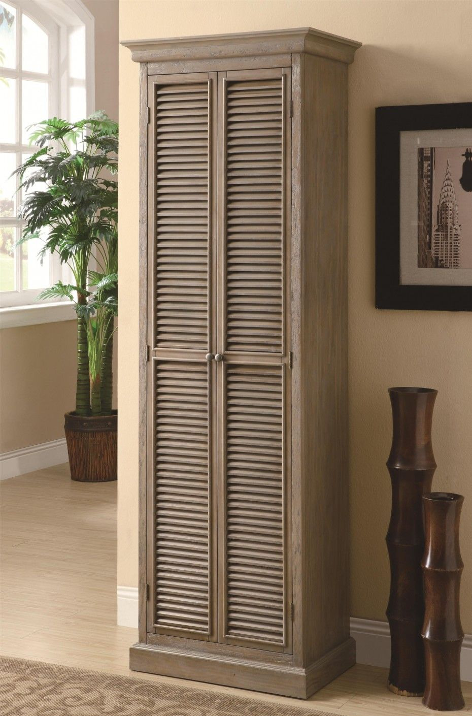 Wood Storage Cabinets with Doors Best Of Unpolished Shutter Door Tall Storage Cabinet Placed Cream