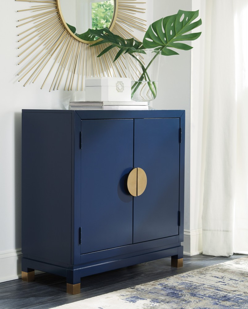 Accent Cabinet with Doors Luxury Walentin Blue Accent Cabinet