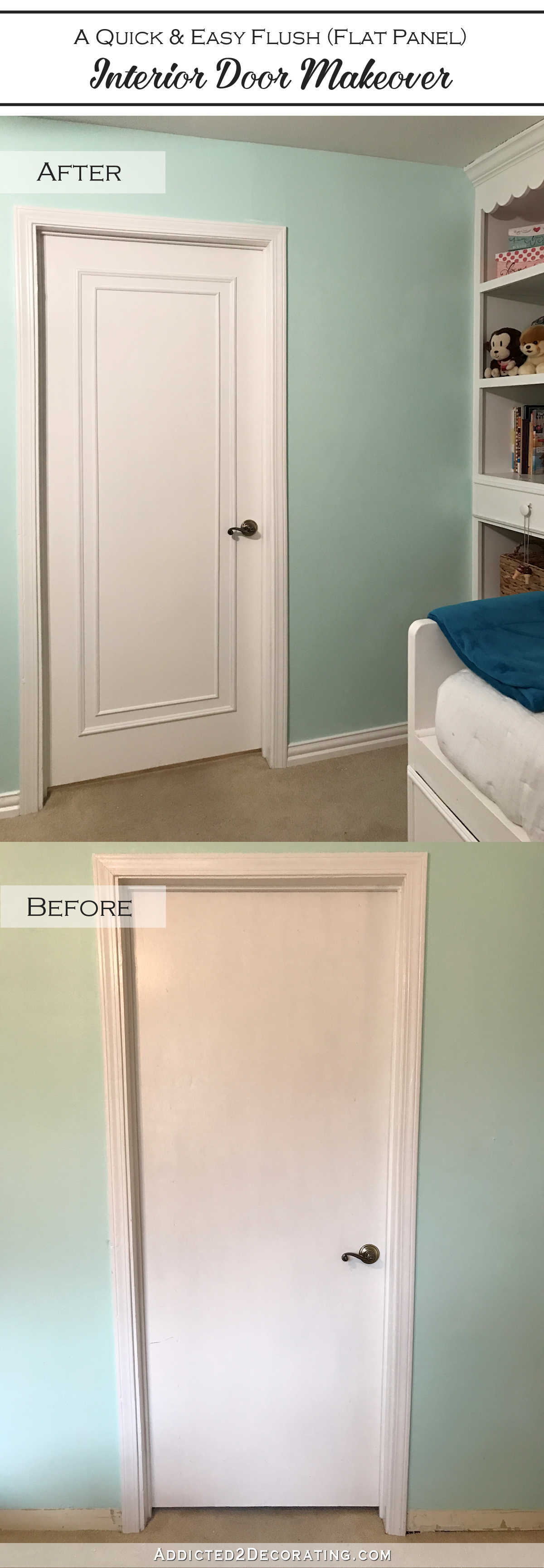 how to update flush interior doors with moulding before and after