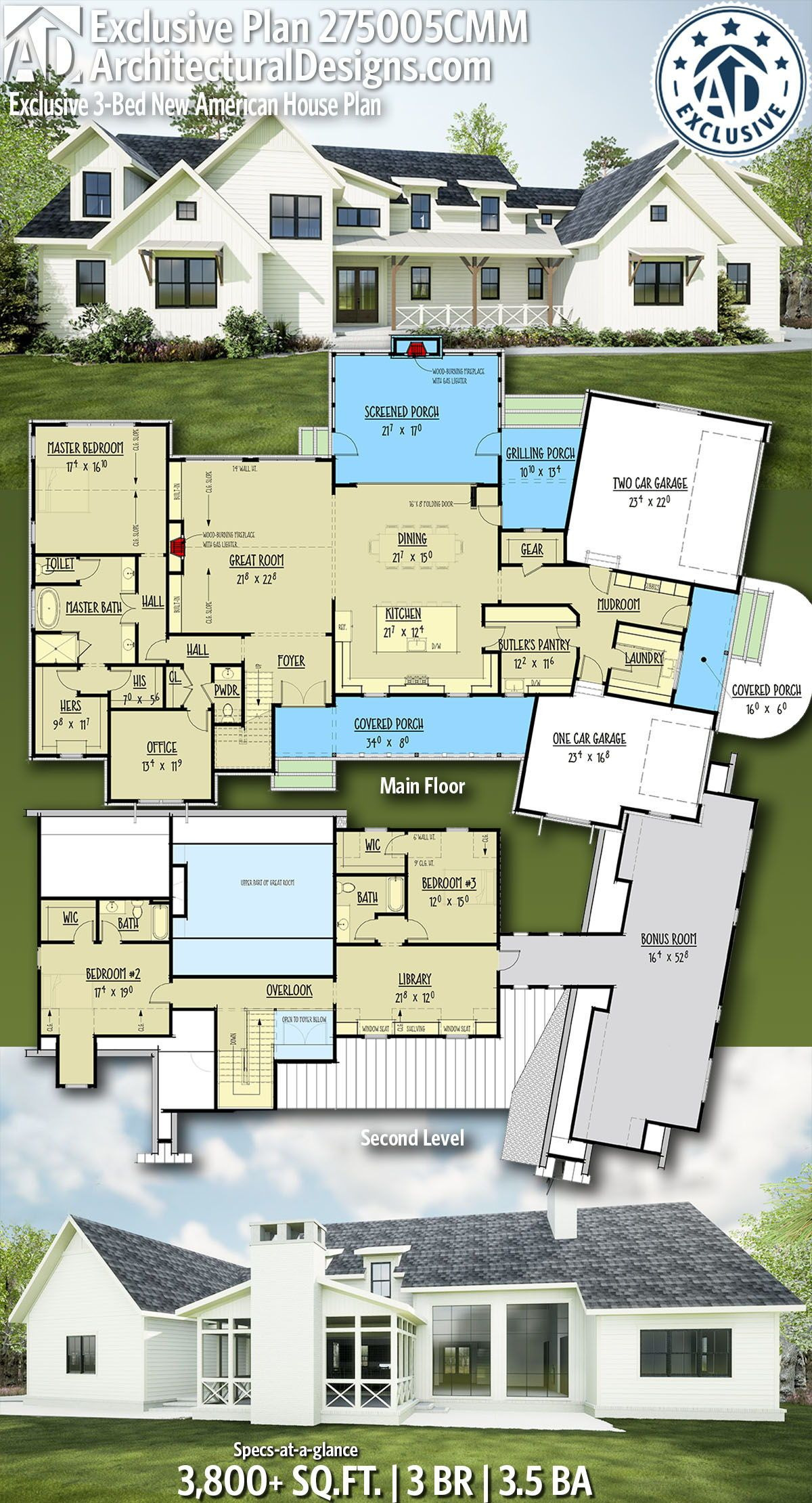 American House Design Pictures Best Of Plan Cmm Exclusive 3 Bed New American House Plan with