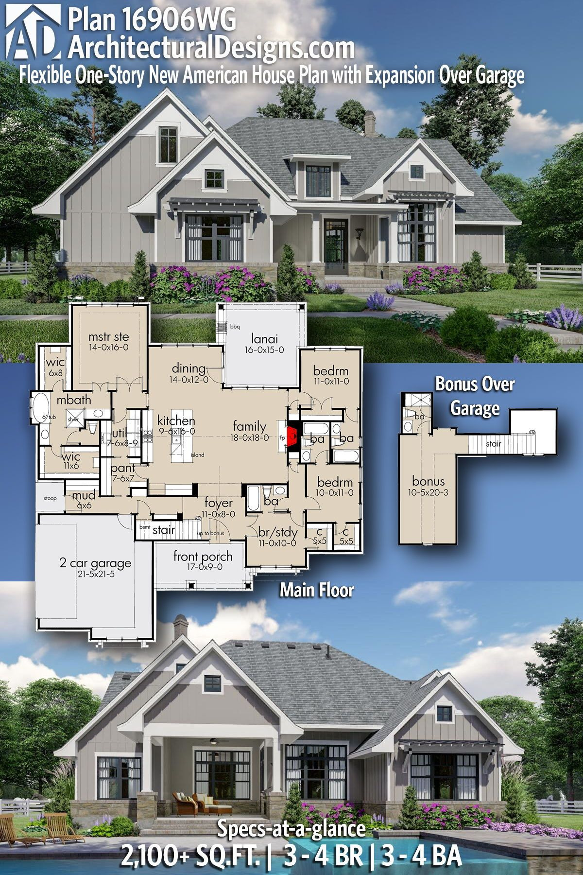 American House Design Pictures Inspirational Plan Wg Flexible E Story New American House Plan