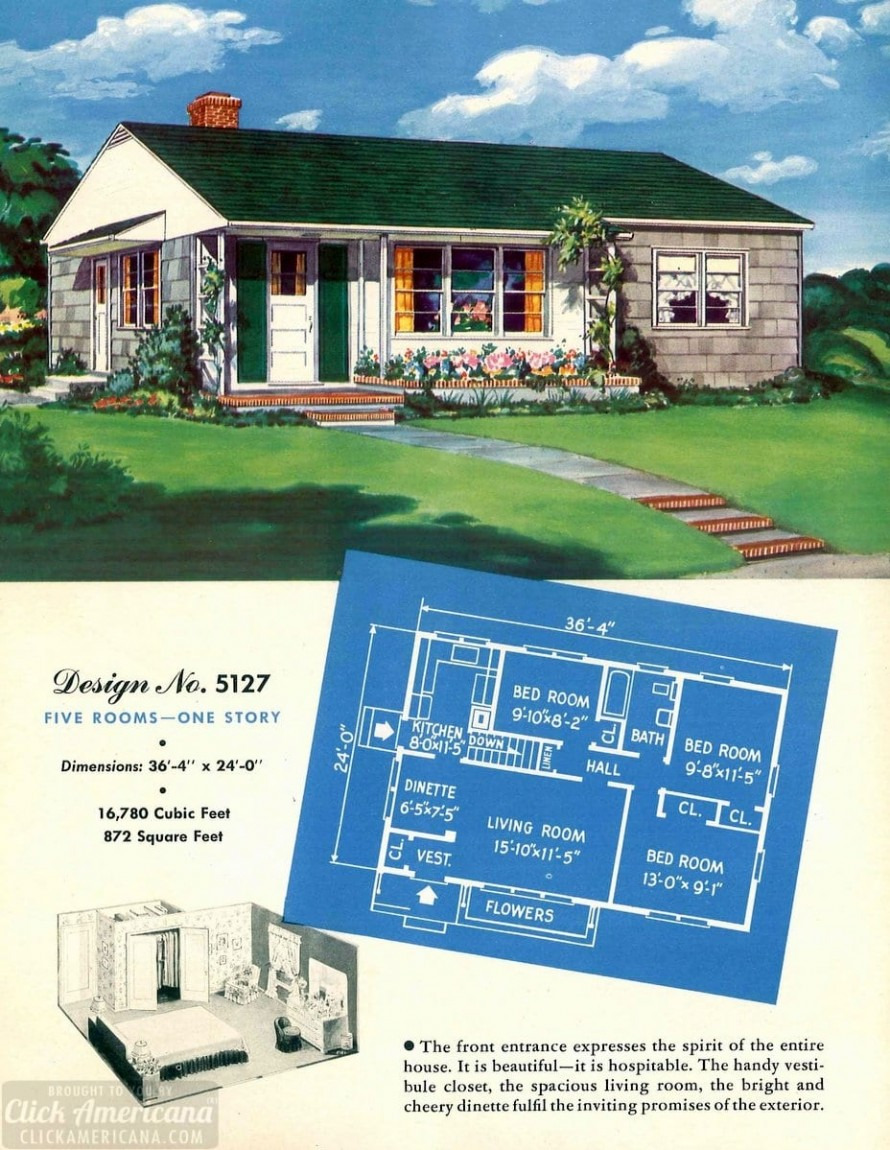 American House Model Design Luxury 130 Vintage 50s House Plans Used to Build Millions Of Mid