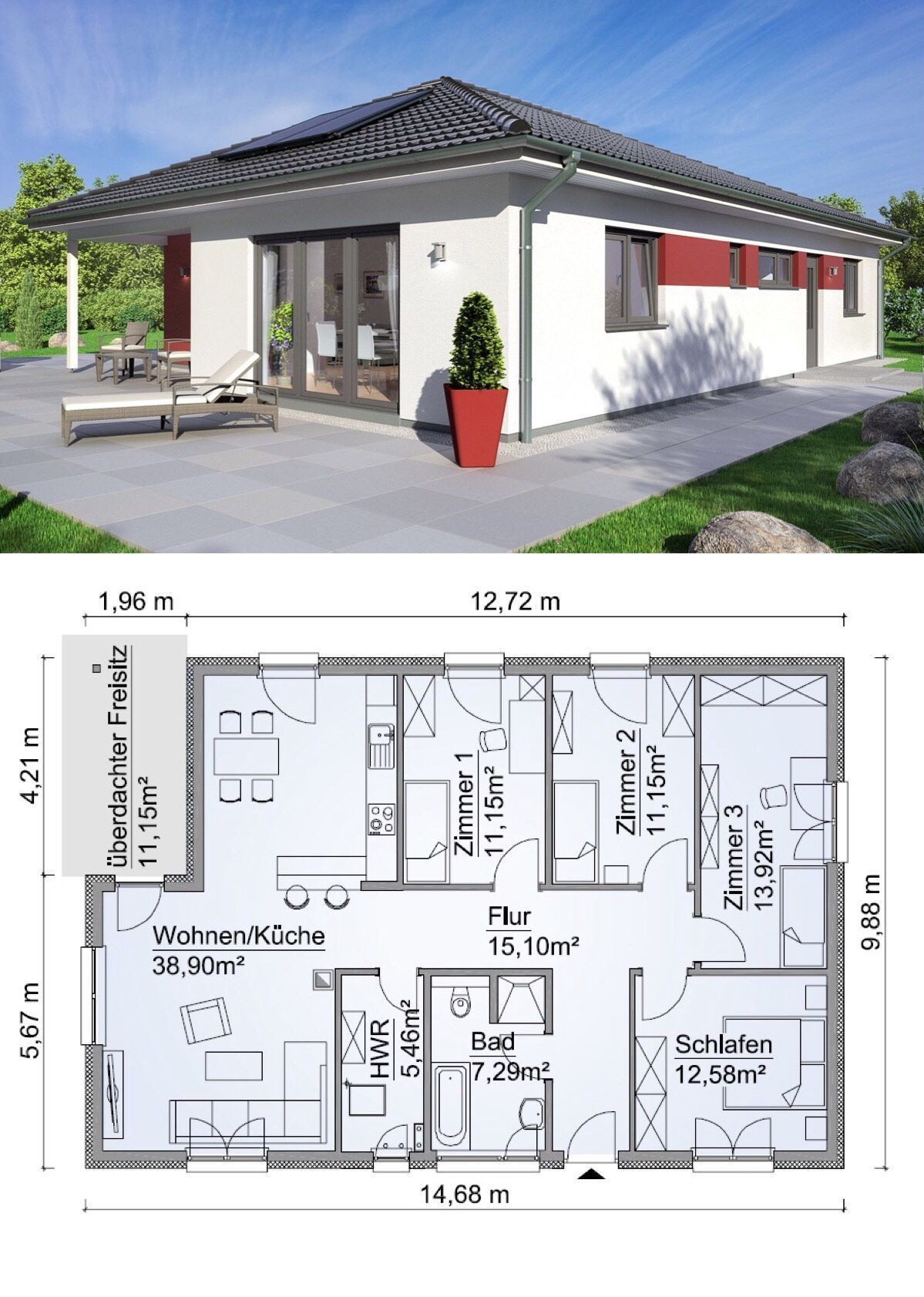Architect House Plans Free Elegant Bungalow House with Hipped Roof Architecture & 5 Rooms Floor