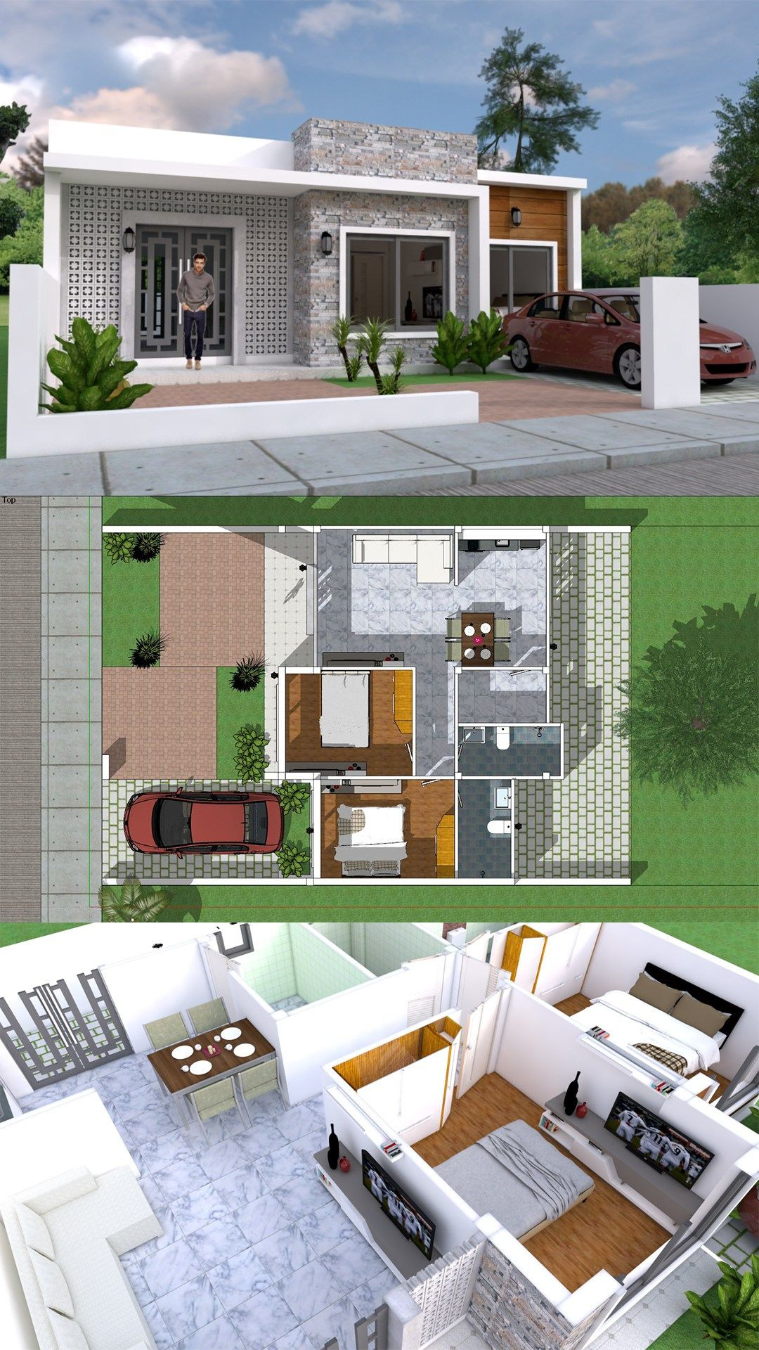 Architecture Simple House Designs Beautiful Simple Home Design Plan 10x8m with 2 Bedrooms Imagens