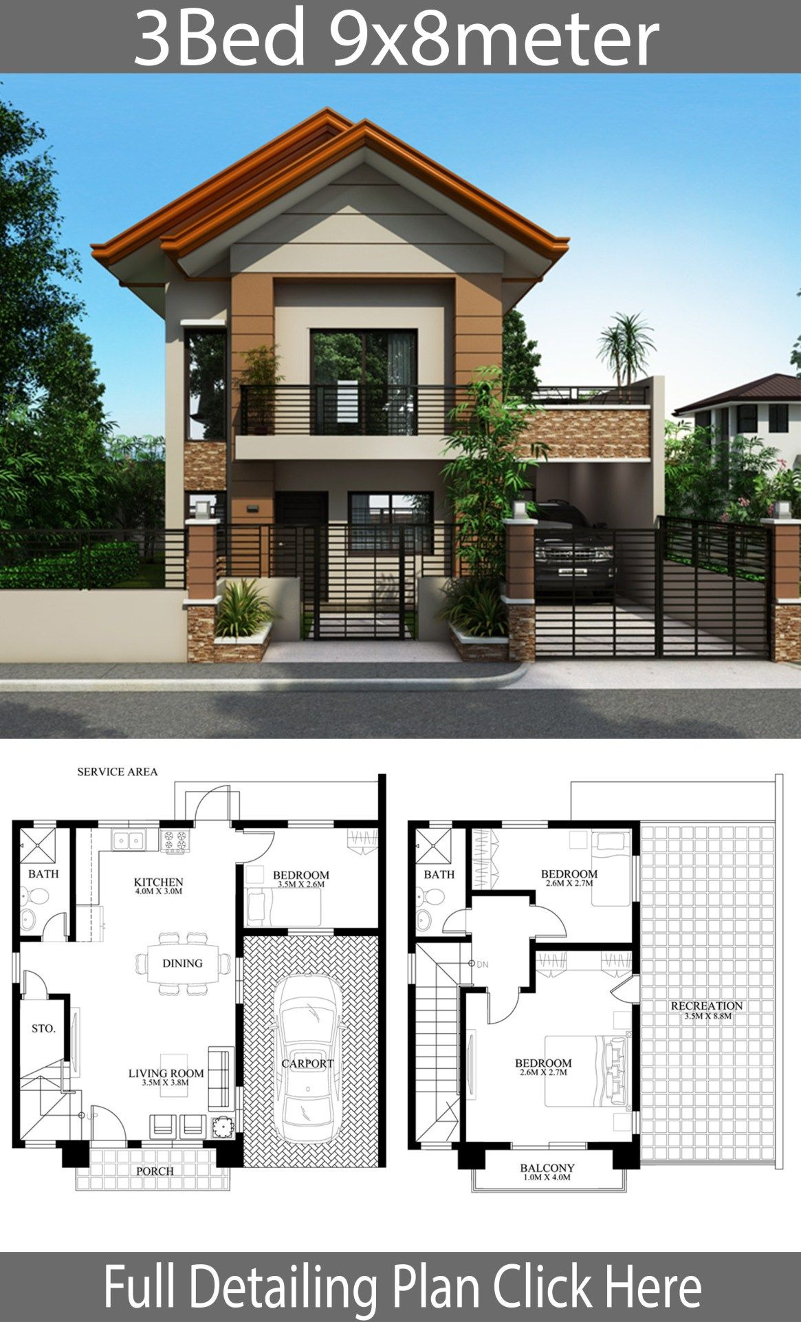 Architecture Simple House Designs Inspirational Home Design Plan 9x8m with 3 Bedrooms