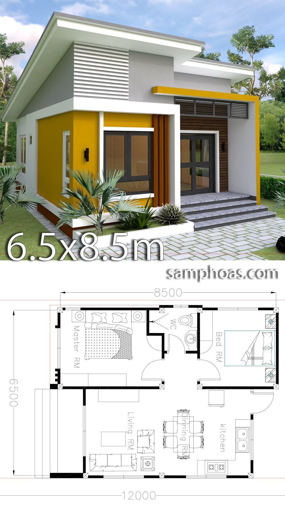 Architecture Simple House Designs New Small Home Design Plan 6 5x8 5m with 2 Bedrooms