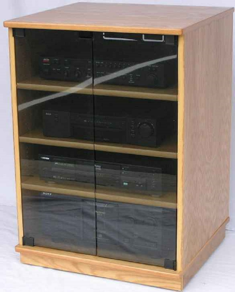 brilliant stereo cabinet with glass door rack ponent oak audio small gallery