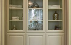 Bathroom Cabinet With Glass Doors New Burrows Cabinets Floor To Ceiling Linen Cabinets W Glass