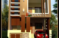 Beautiful Building Elevation In Front New Wooden Thoons In Place Of The Brown Pillars For A Modern