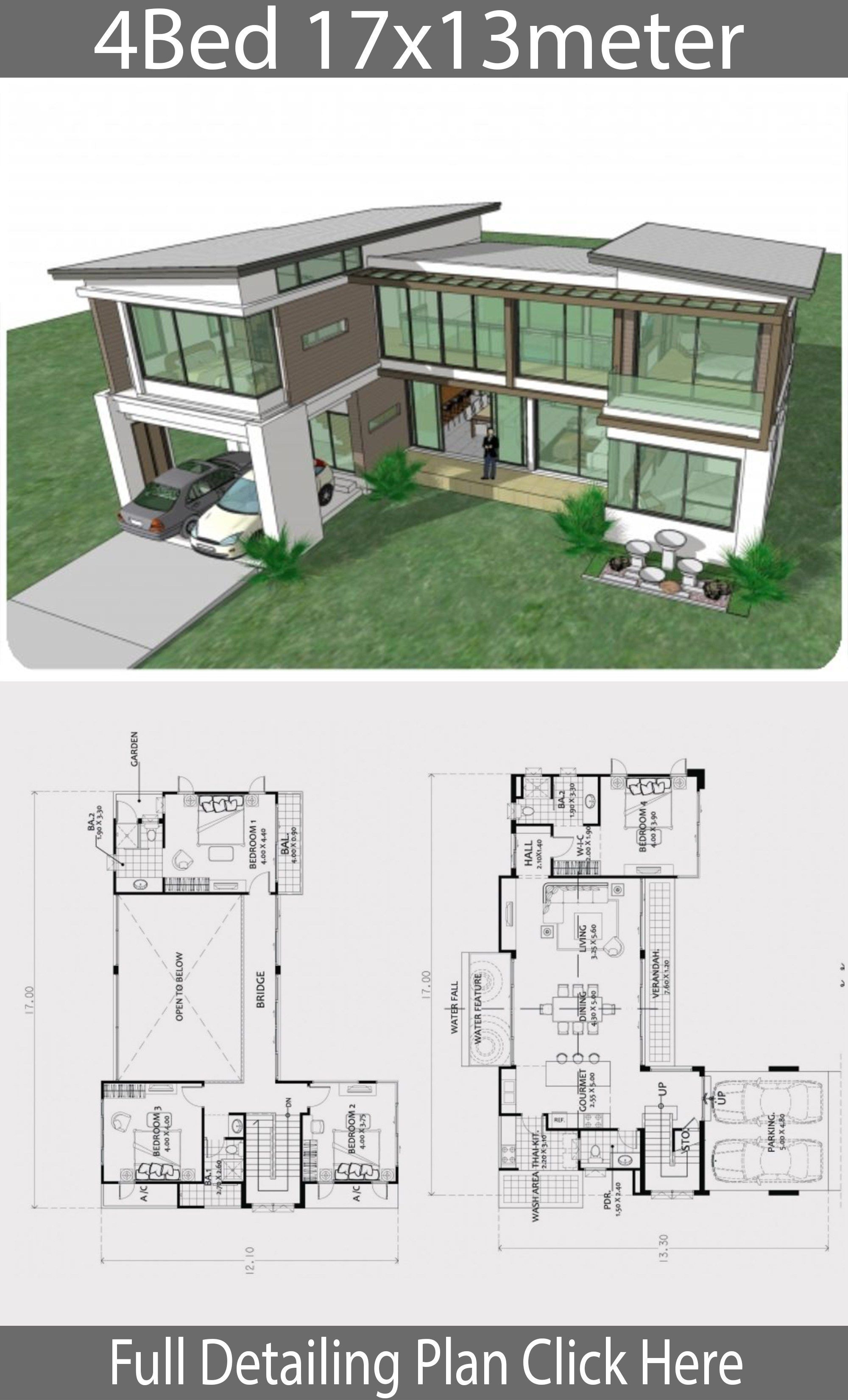 Big Modern House Plans Fresh Home Design Plan 17x13m with 4 Bedrooms