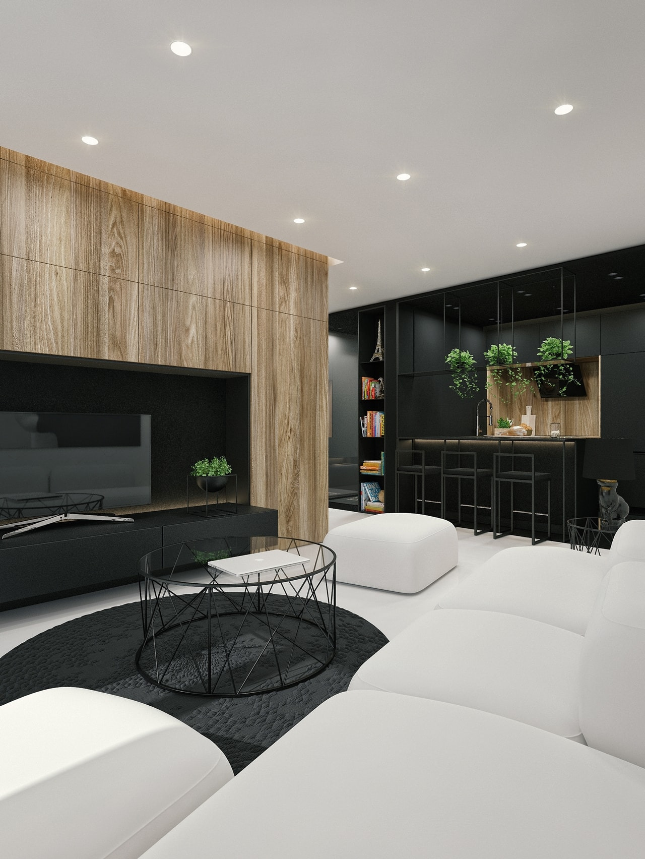 Black And White Interior Design Ideas Modern Apartment by ID White on Architecture Beast 02 min