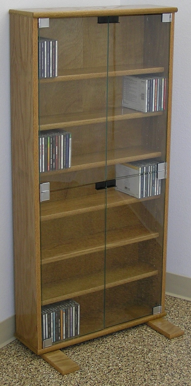 """Book Cabinet with Doors Awesome Dvd Cd Bookcase with Glass Doors 27"""" 72"""" High Oak Maple Usa Made"""