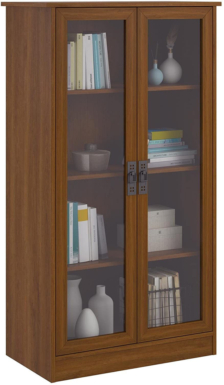 Book Cabinet with Doors Beautiful Ameriwood Home Quinton Point Bookcase with Glass Doors Inspire Cherry