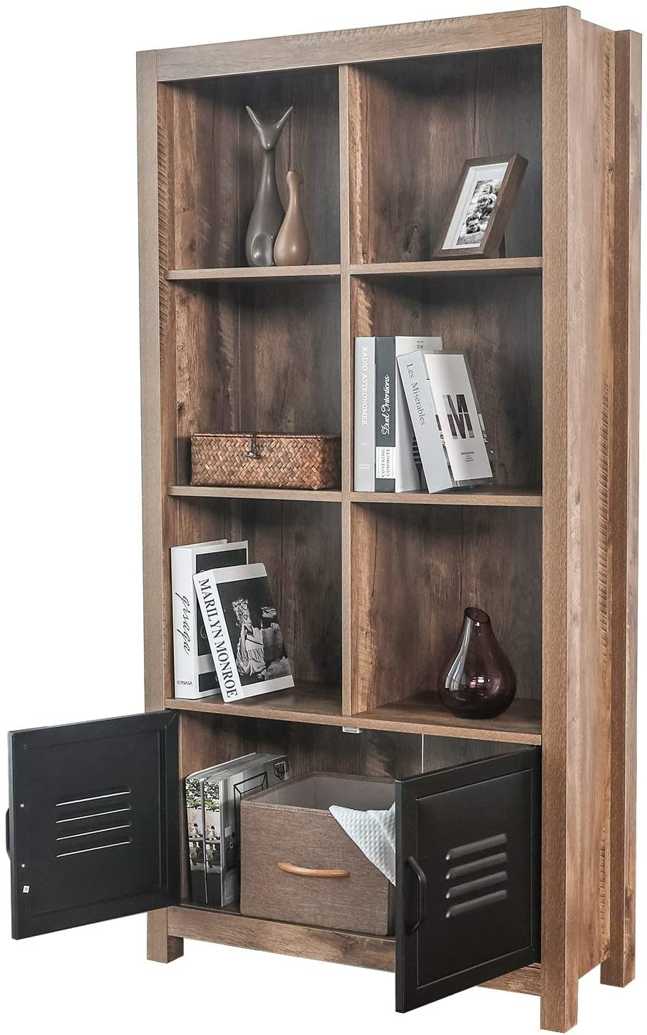 Book Cabinet with Doors Inspirational Bahom Bookcase Storage Shelves Retro Bookshelf with Doors 4 Tier Cabinet for Books S and Decorations