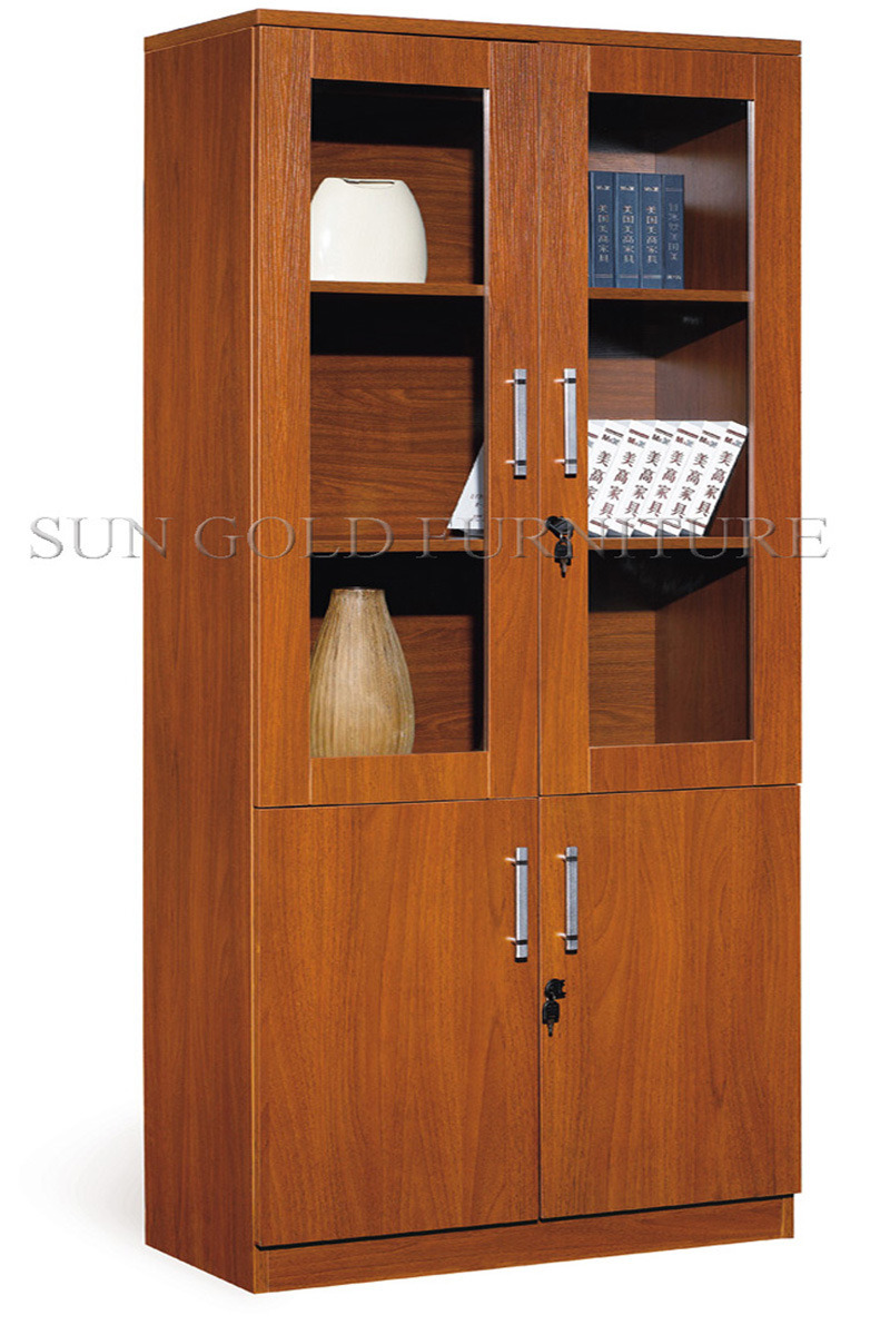 Two Glass Doors Bookcase Wooden Filing Cabinet SZ FC006