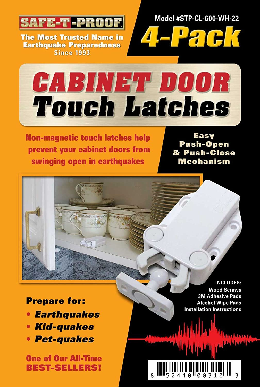 Cabinet Door Latch Best Of Safe T Proof Cabinet Door touch Latches White 4 Pack