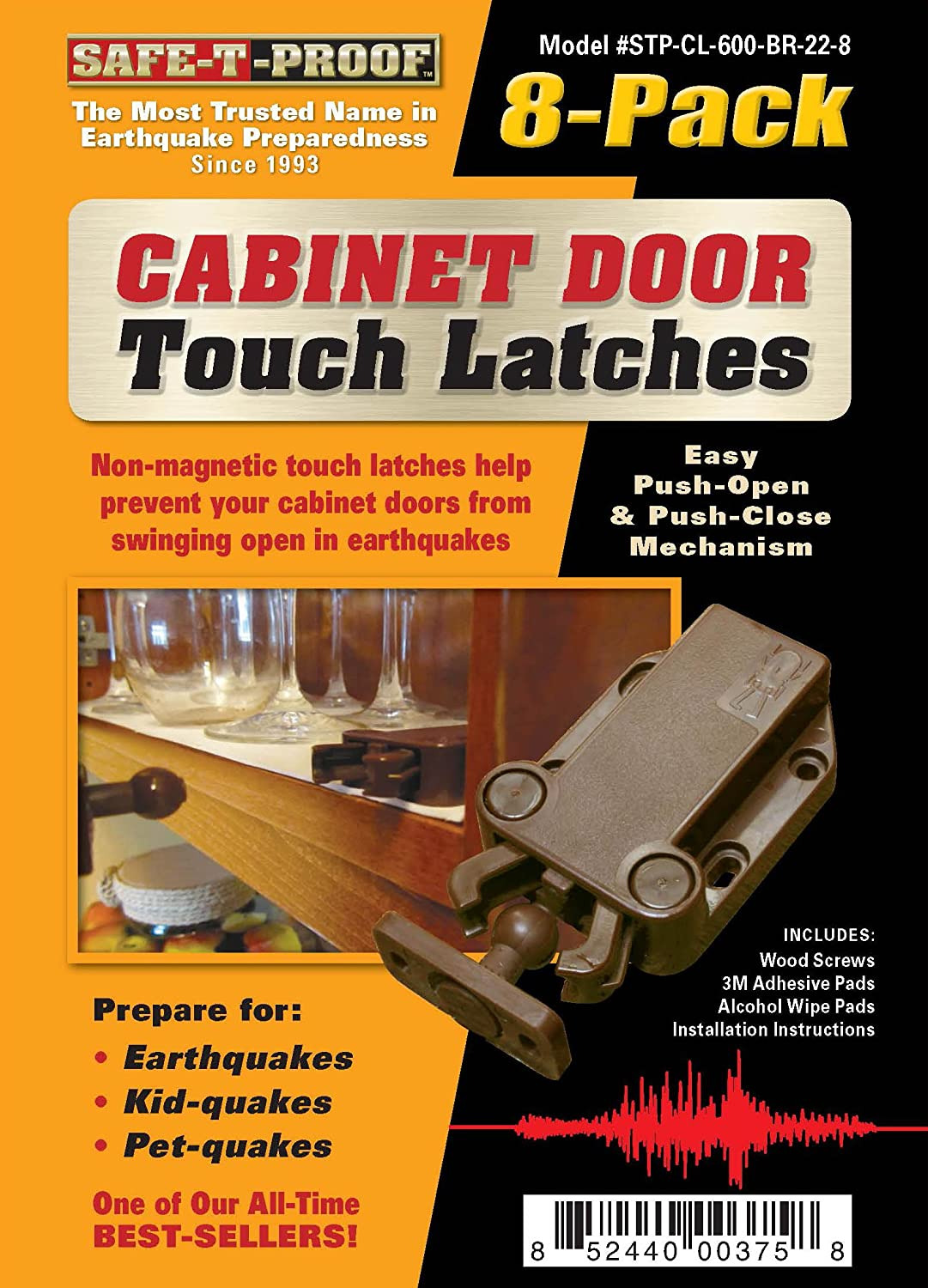Cabinet Door Pads Luxury Safe T Proof Stp Mp 600 Br 2208 Cabinet Door touch Latches Pack Of 8 Brown