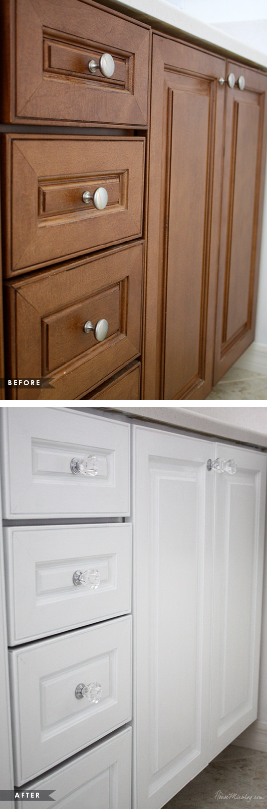 How to paint cabinets without removing doors using one can before and after
