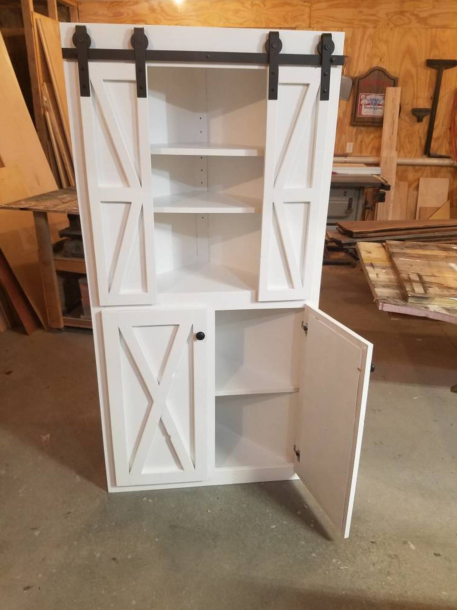 Corner Cabinets with Doors Beautiful Handcrafted Farmhouse Modern Rustic Corner Cabinet with Barn Doors