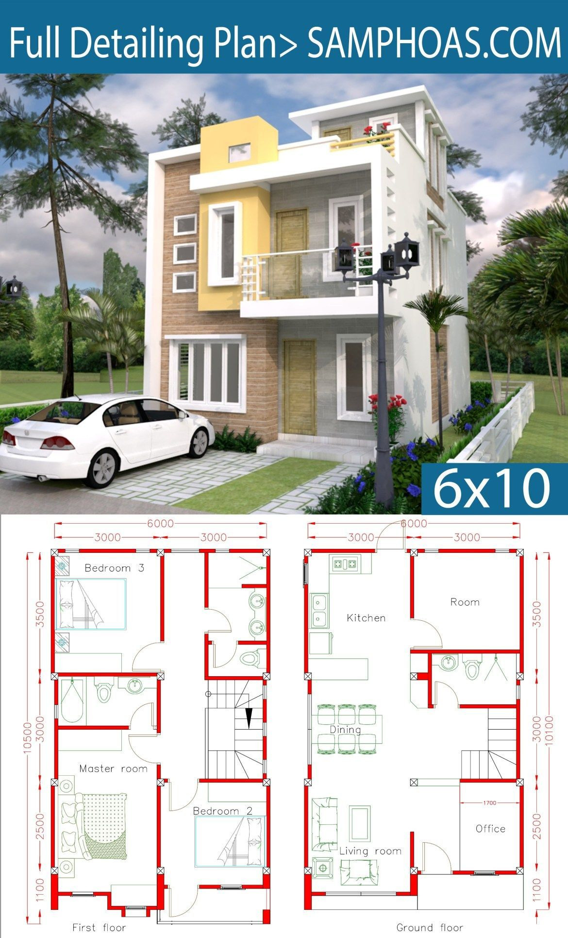 Costa Rica House Plans Lovely Sketchup Home Design Plan 6x10m with 4 Rooms Casaspequeñas