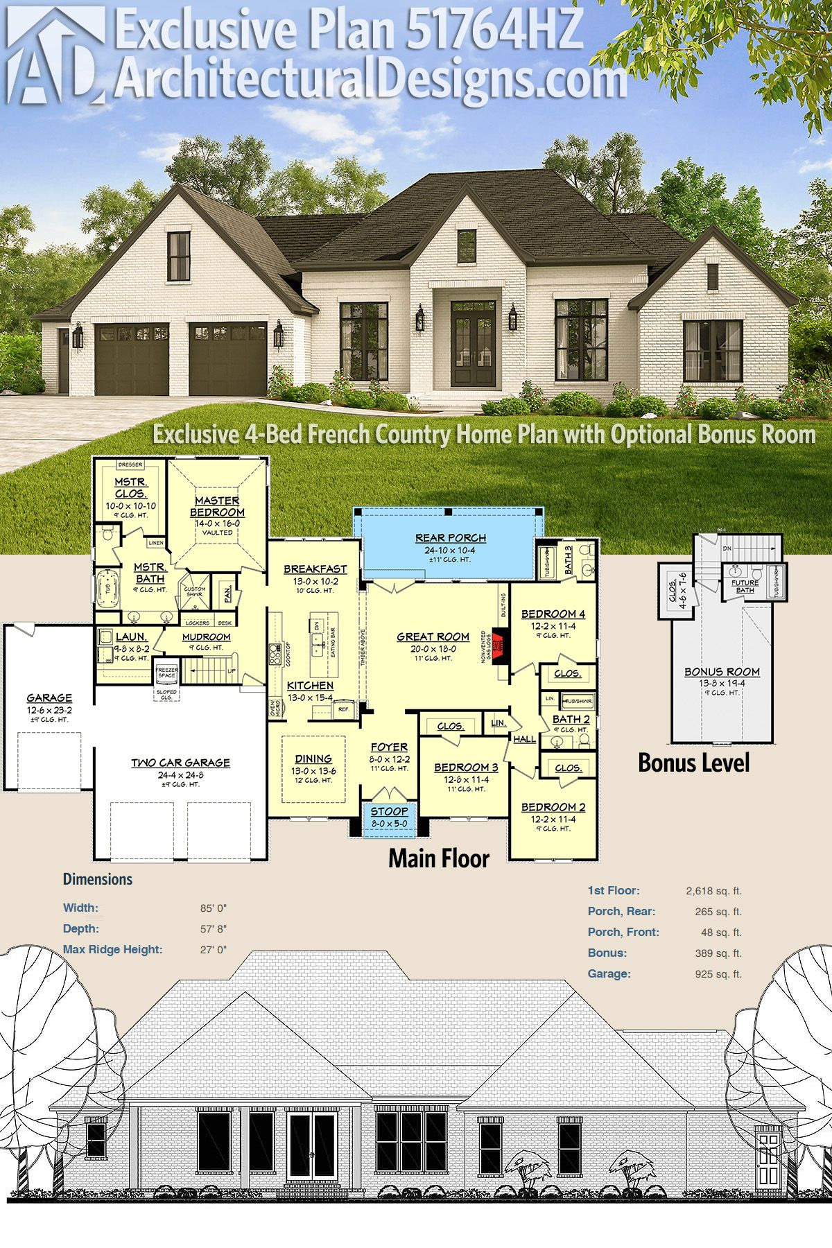 Country Homes House Plans Awesome Plan Hz Exclusive 4 Bed French Country Home Plan with
