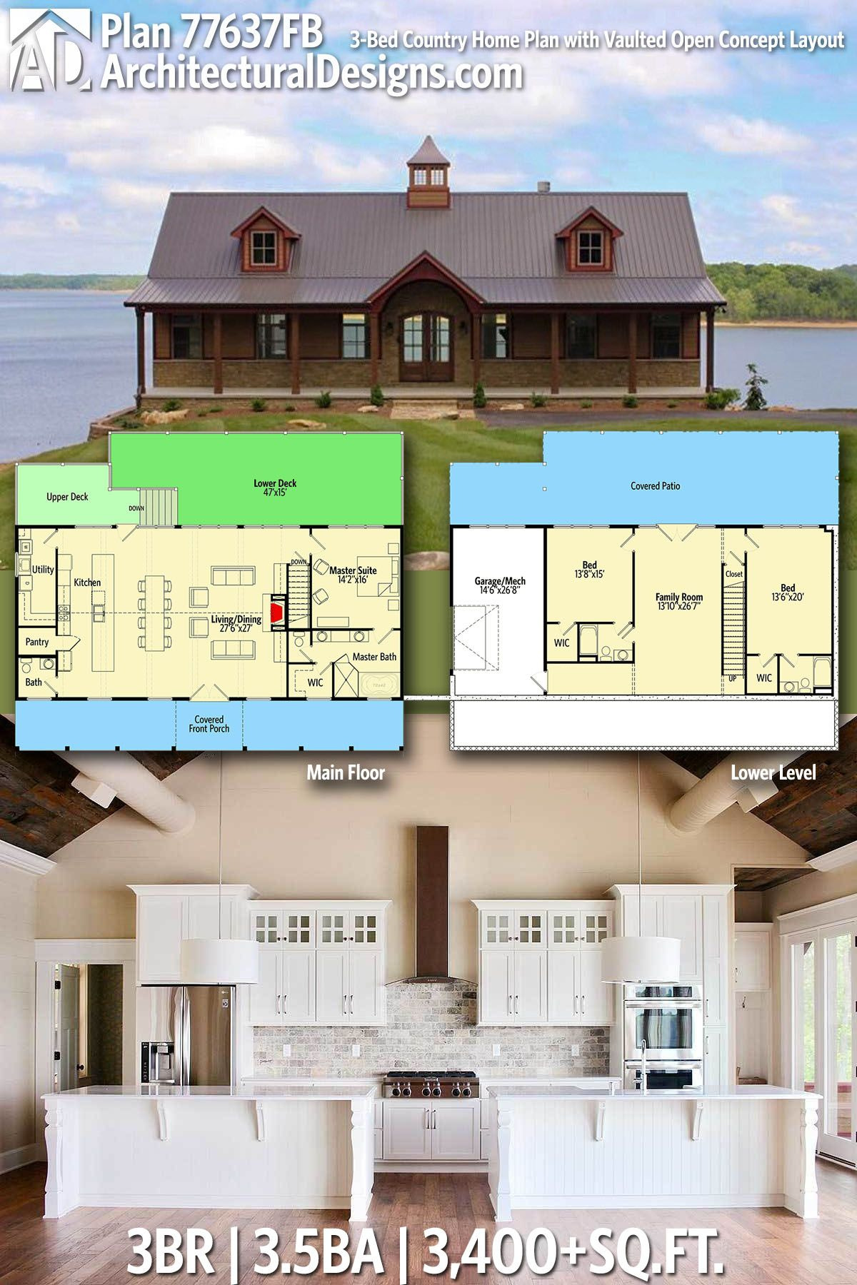 Country Homes House Plans Lovely Plan Fb 3 Bed Country Home Plan with Vaulted Open