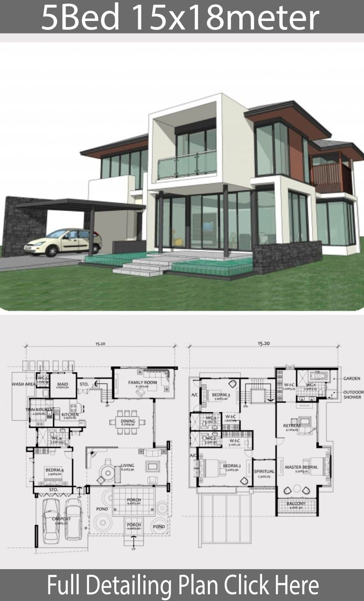 Custom House Plans Designs Best Of Home Design Plan 15x18m with 5 Bedrooms