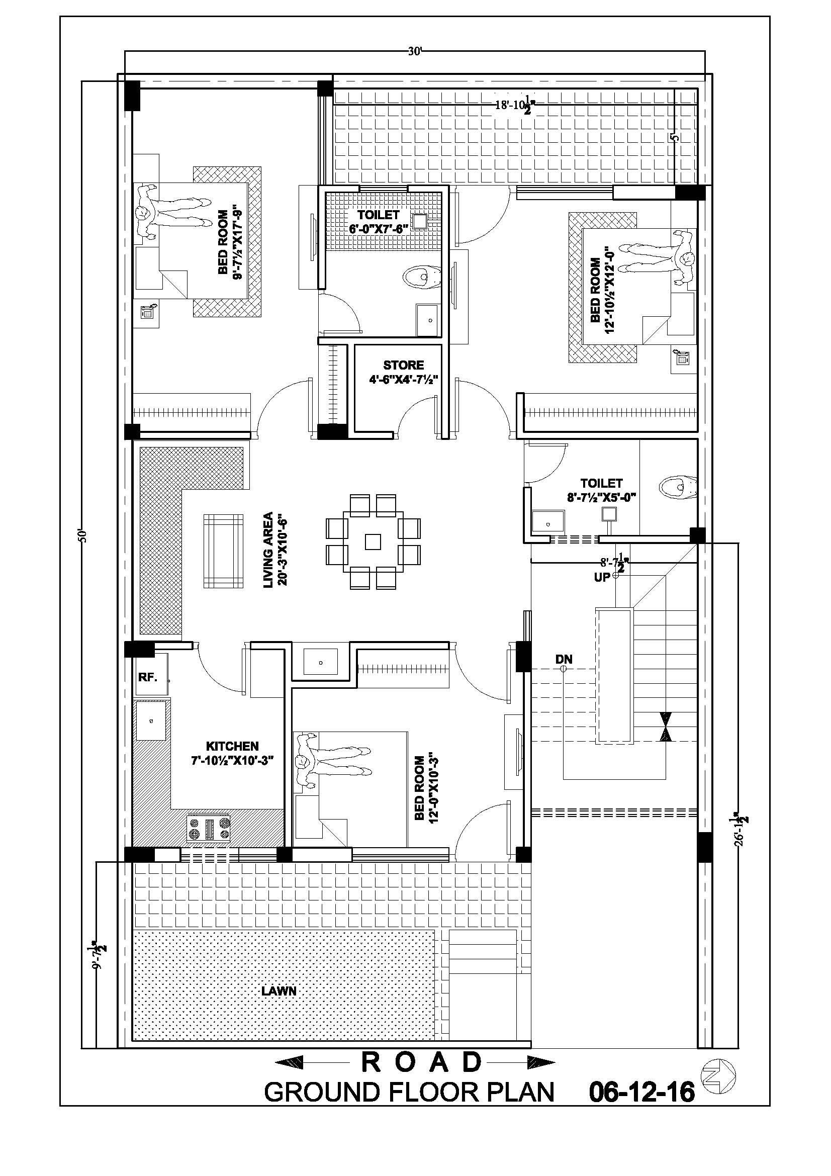 Drawing Plans for A House Awesome 30 50 House Map Floor Plan Ghar Banavo Prepossessing by
