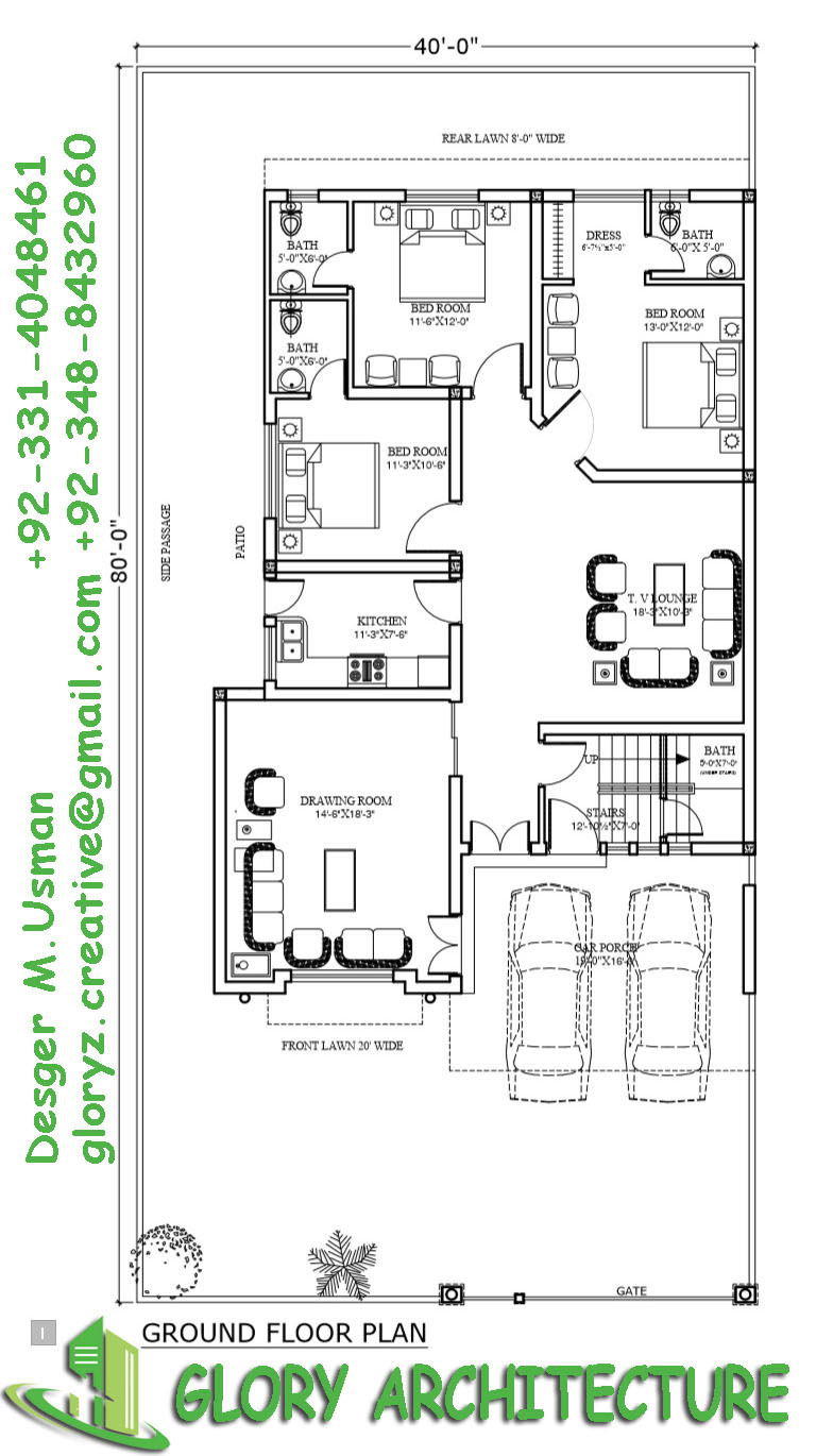 40x80 house plan 10 marla house plan 12 marla house plan